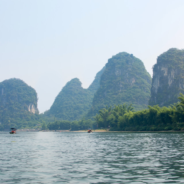 """Karst rocks and Li River in Yangshou, China"" stock image"