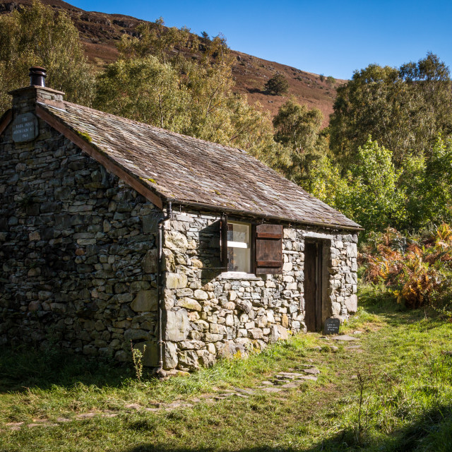 """Bark House Mountain base hut, Derwent Water"" stock image"