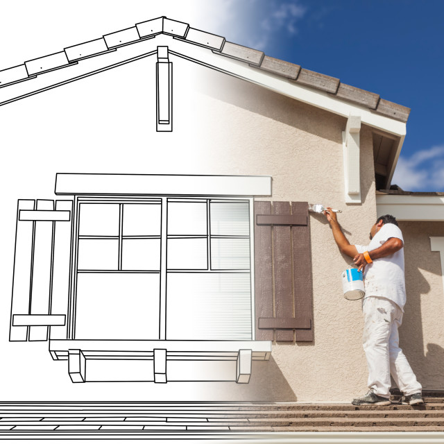 """Split Screen of Drawing and Photo of Busy House Painter Painting Home."" stock image"
