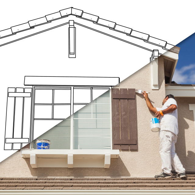 """Diagonal Split Screen of Drawing and Photo of Busy House Painter Painting Home."" stock image"