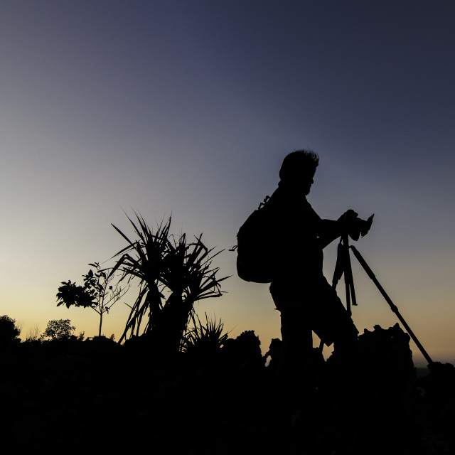 """""""Silhouette of photographer"""" stock image"""