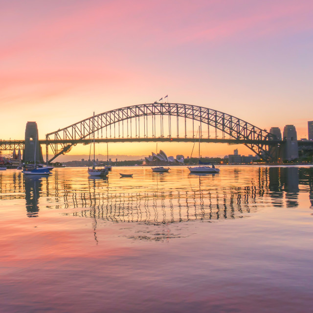 """Sunrise at Sydney Harbour Bridge"" stock image"