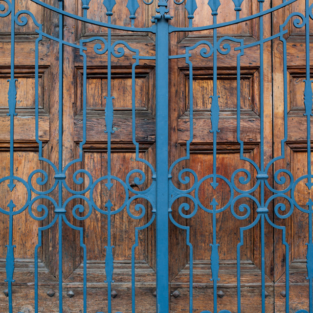 """Closed building main door, wood and iron"" stock image"
