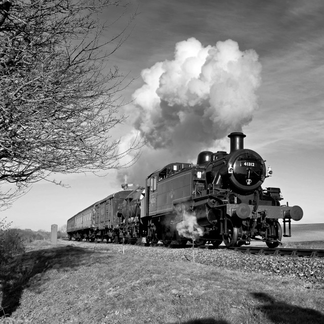 """1950's mixed train on a rural branch line."" stock image"