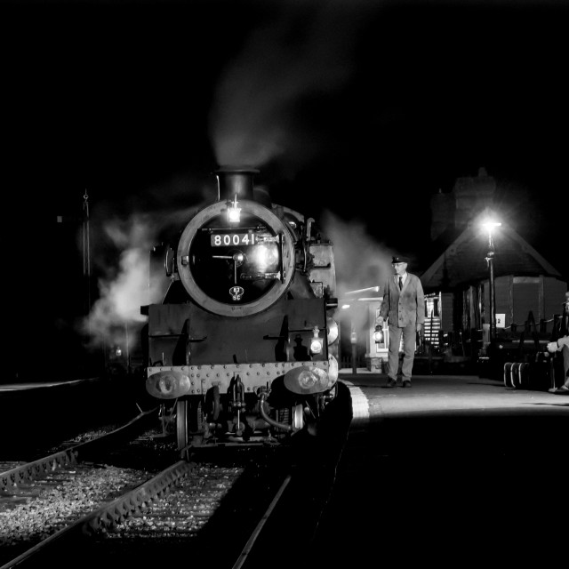 """Night steam at Midsomer Norton"" stock image"