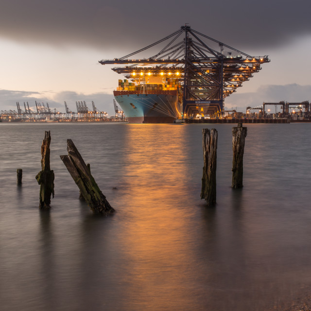 """Felixstowe port at dusk 2"" stock image"