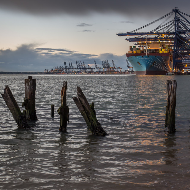 """Felixstowe port at dusk 3"" stock image"