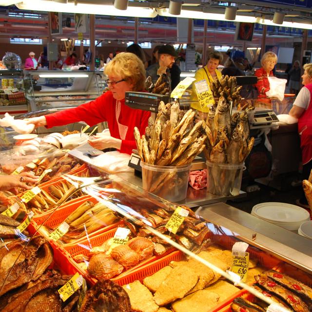 """Fish Pavilion at the Riga Central Market"" stock image"