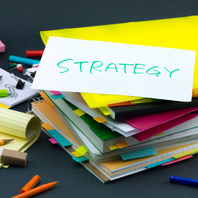 """The Pile of Business Documents; Strategy"" stock image"