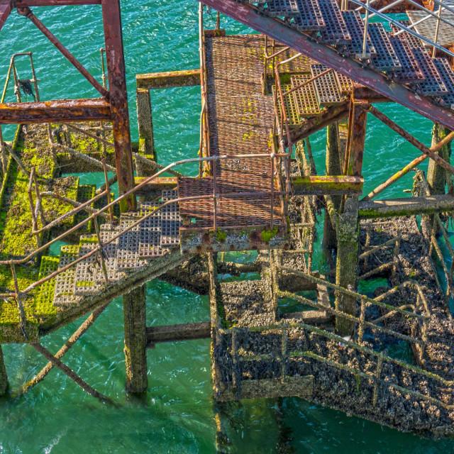 """""""Bangor Pier Steps"""" stock image"""