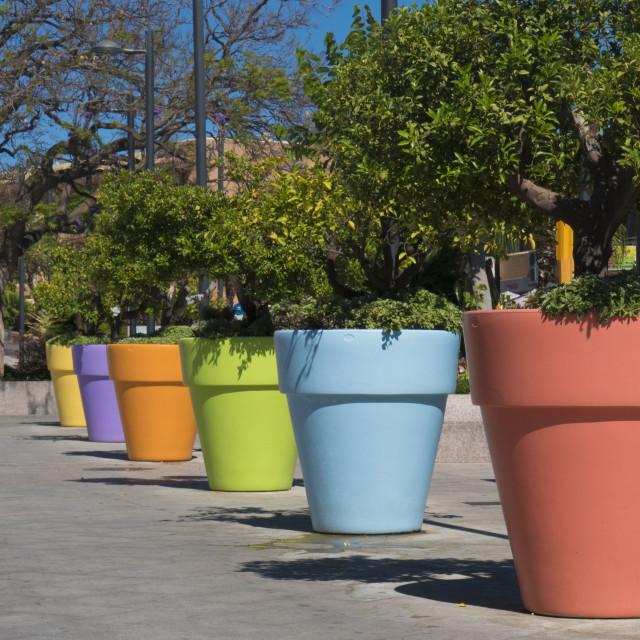 """Coloured Pots"" stock image"