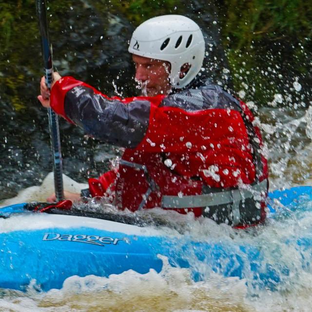 """White Water, Canoe"" stock image"