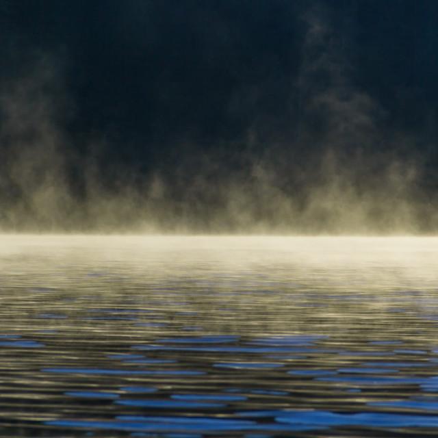 """""""Foggy morning at the lake"""" stock image"""
