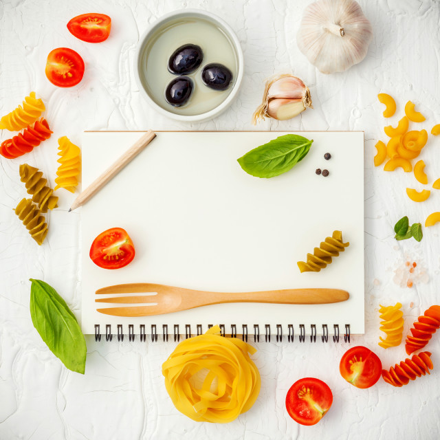 """Italian foods concept and menu design . Various pasta elbow macaroni ,fusilli..."" stock image"