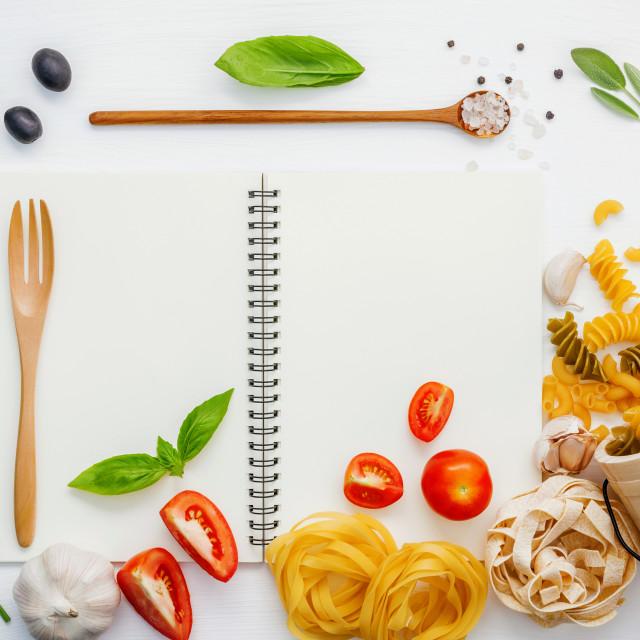"""Italian foods concept and foods menu design . Various pasta elbow macaroni..."" stock image"