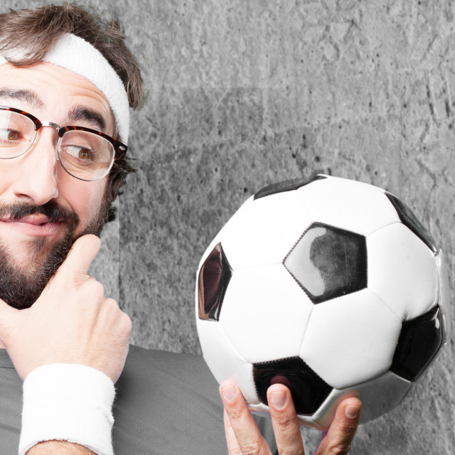"""""""crazy sports man.funny expression"""" stock image"""