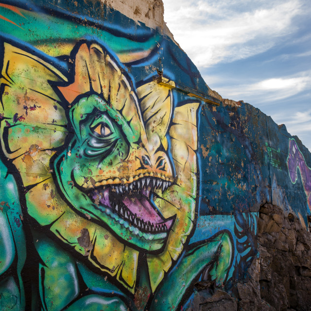 """Dragon Graffiti on a wall"" stock image"