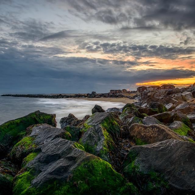 """Martello Beach Clacton October Sunset"" stock image"