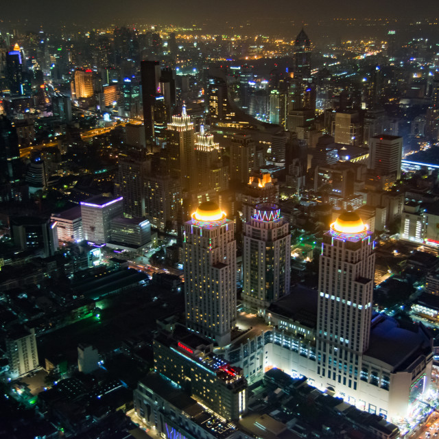 """Bangkok, top night view of the Thailand capital city"" stock image"