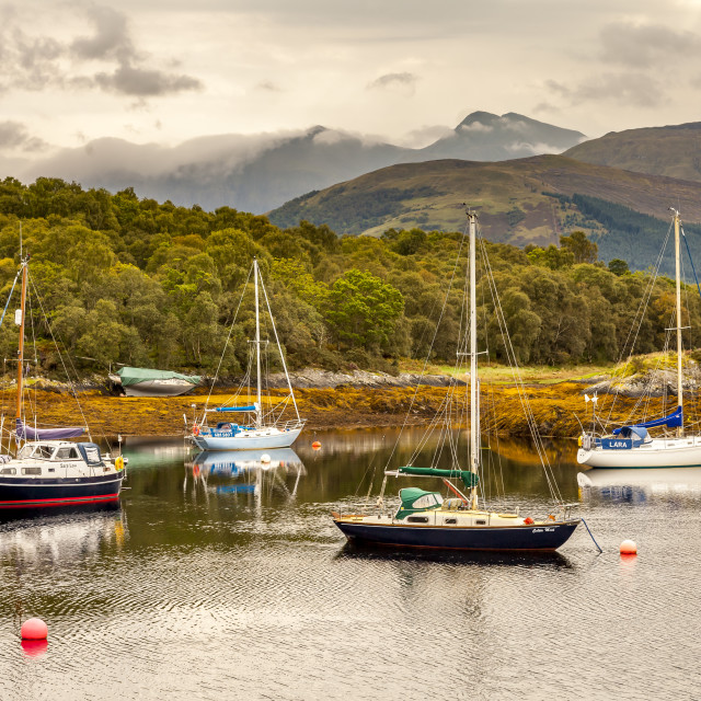 """""""Mooring and Mountains"""" stock image"""