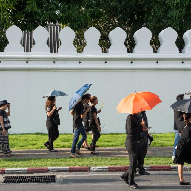 """Bangkok, Thailand - October 14, 2016: Citizens walking around Gr"" stock image"