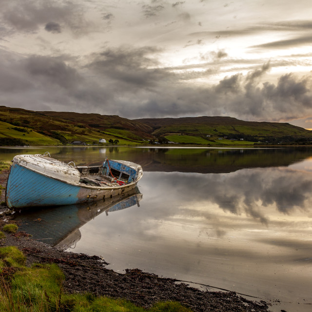 """""""Old boat on Loch"""" stock image"""