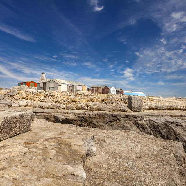 """Portland Bill Huts"" stock image"