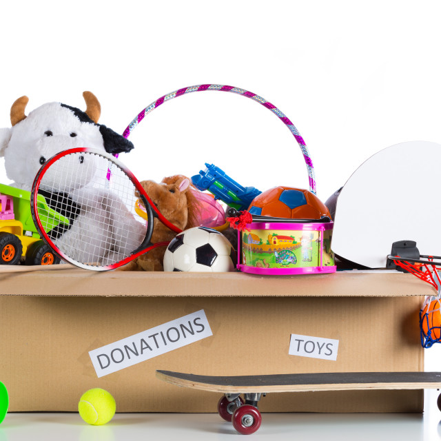 """Toybox to donate"" stock image"