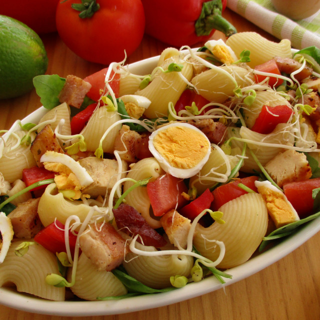 """""""Salad with meat leftovers"""" stock image"""