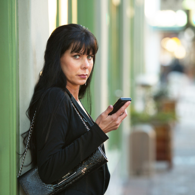 """""""Beautiful Woman with her Cellphone"""" stock image"""