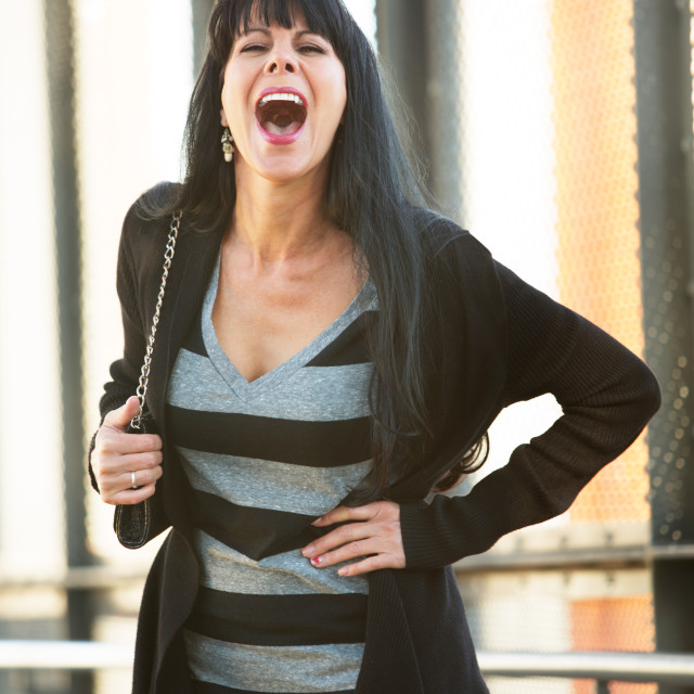 """""""Attractive Woman Laughing"""" stock image"""
