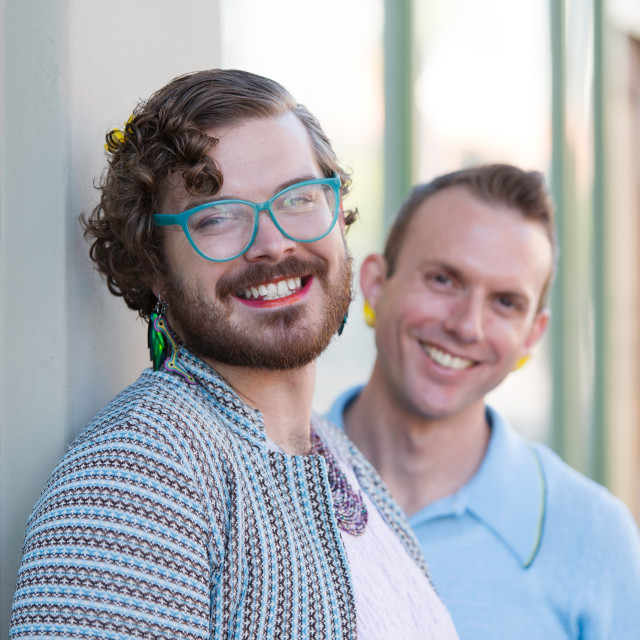 """""""Two Gender Fluid Young Men"""" stock image"""