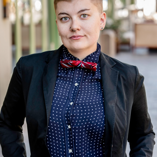 """Serious Dapper Gender Fluid Young Woman"" stock image"