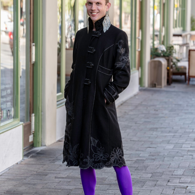 """""""Gender Fluid Young Man in Coat"""" stock image"""