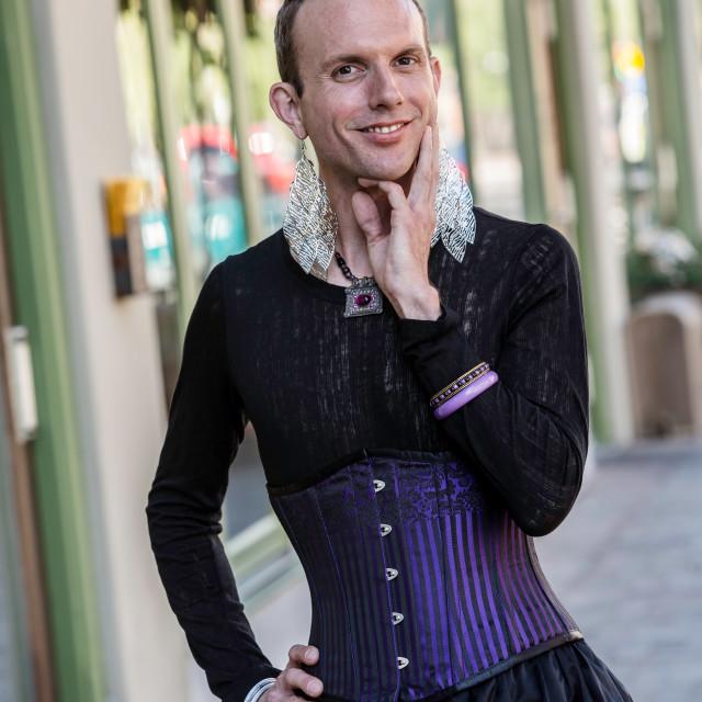 """Gender Fluid Young Man in Corset"" stock image"