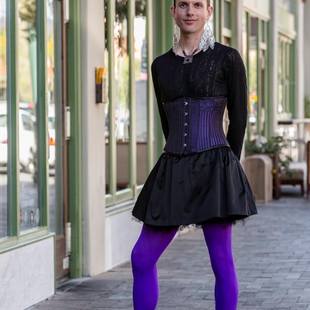 """""""Gender Fluid Young Man in Heels"""" stock image"""