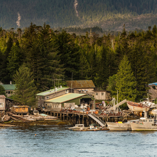 """Ramshackle Boat Salvage Businesses Near Ketchikan"" stock image"