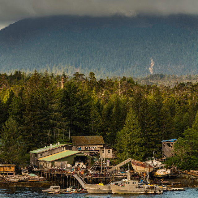 """Ramshackle Maritime Salvage Businesses Near Ketchikan"" stock image"