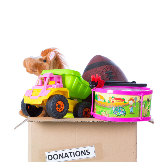 """""""Toybox to donate"""" stock image"""