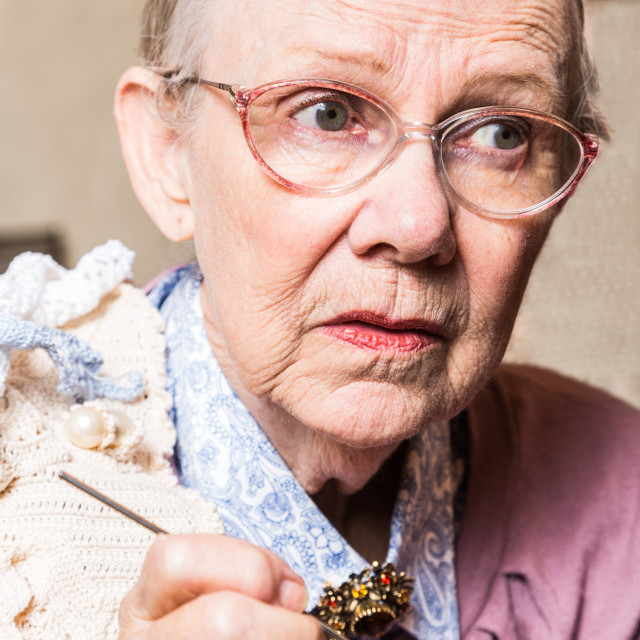 """Old Women Crocheting"" stock image"