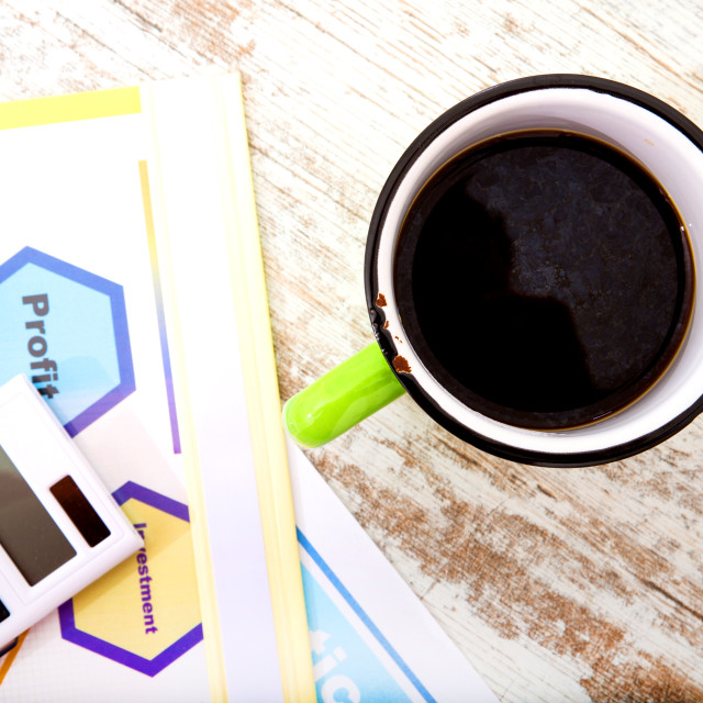 """""""Business Analytics with Coffee.."""" stock image"""