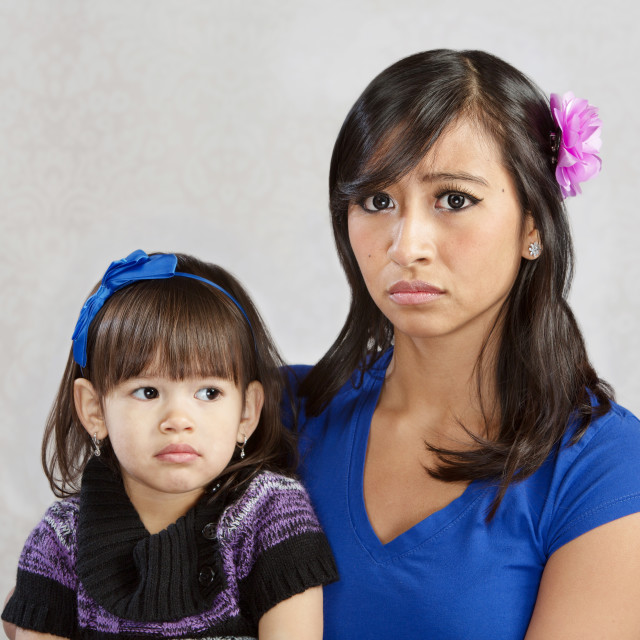 """""""Disappointed Mother with Child"""" stock image"""