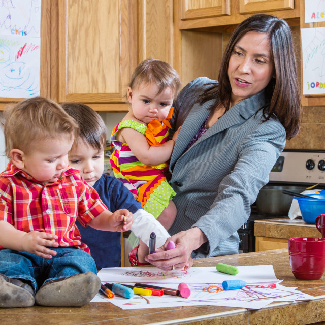 """""""Mother Plays With Children"""" stock image"""