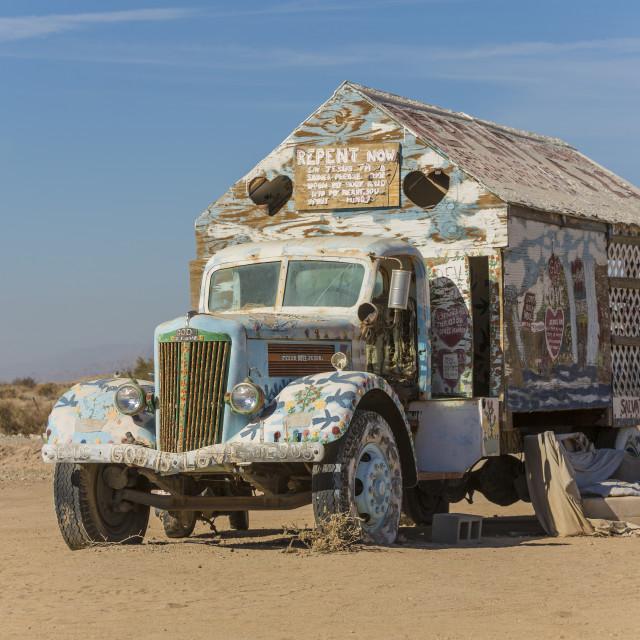 """Bible Truck Outsider Art Installation"" stock image"