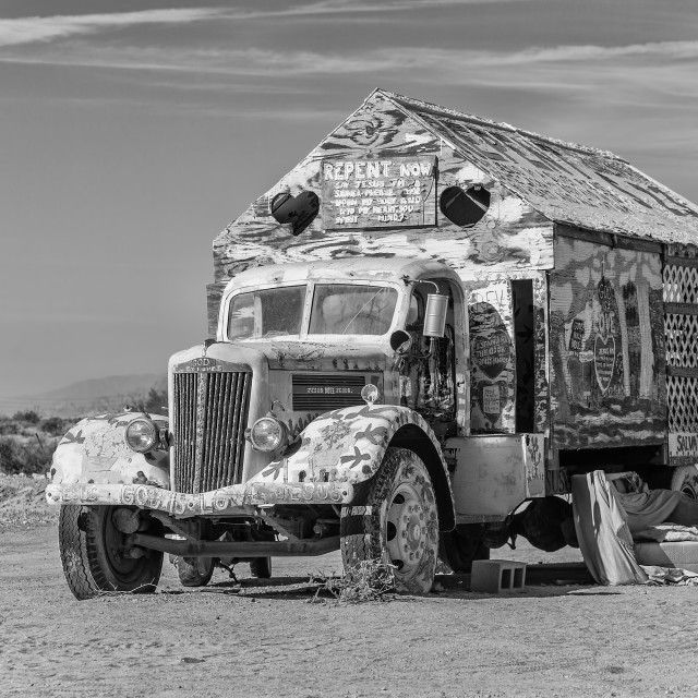 """Bible Truck Outsider Art Installation in Monotone"" stock image"