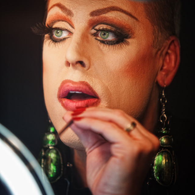"""Man in Drag with Lipstick"" stock image"