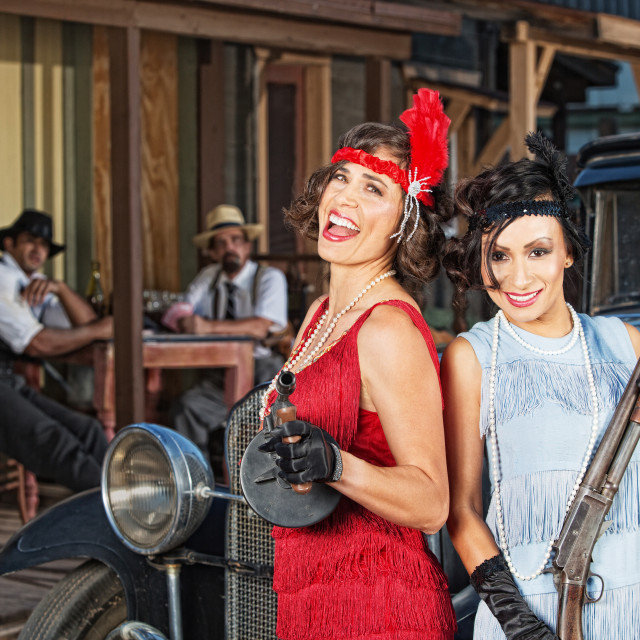 """""""Laughing Female Gangsters"""" stock image"""