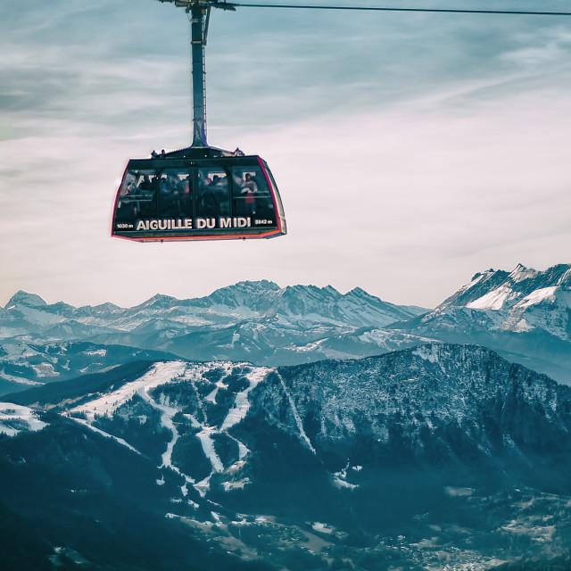"""A gondola at Aiguille du Midi"" stock image"