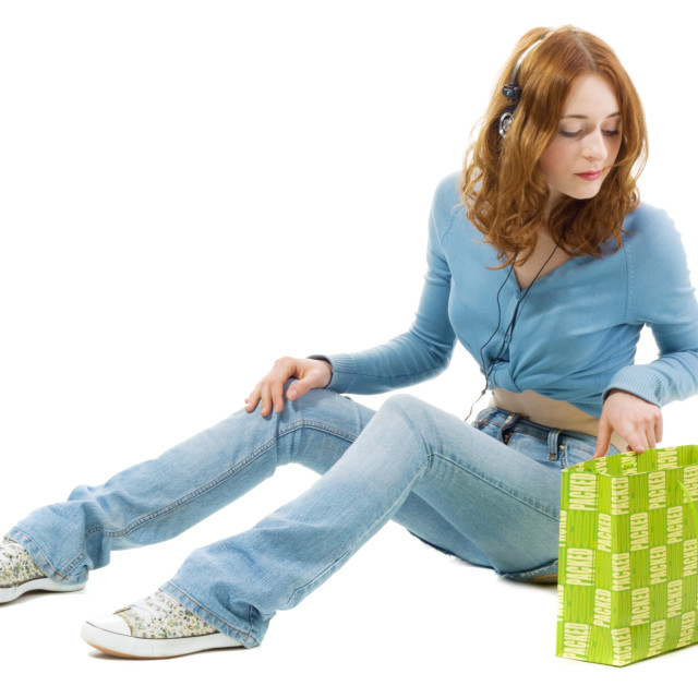 """Pretty girl with a shopping bag"" stock image"