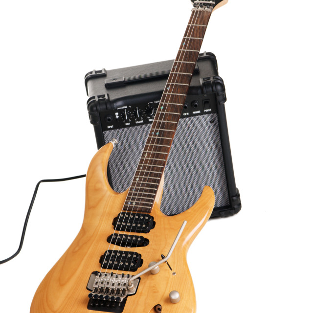 """Electric guitar with amplifier"" stock image"